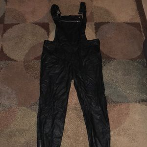 Leather black overalls edgy